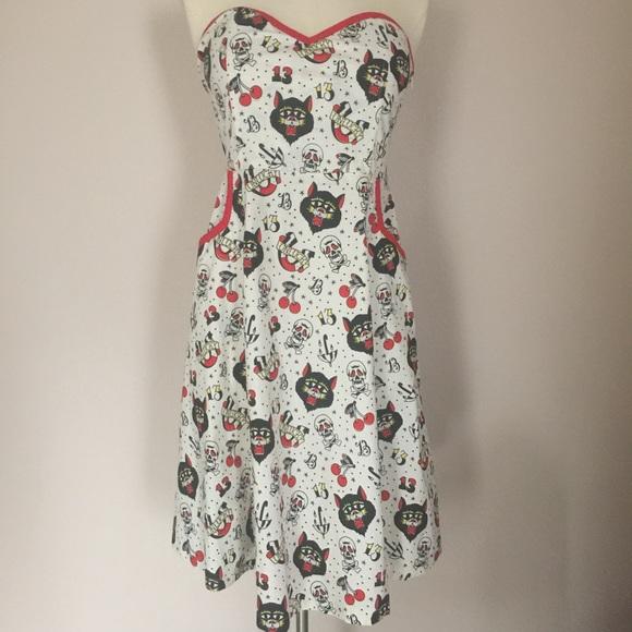 cbe02c0502576 Sourpuss NEW Tattoo Lucky 13 Black Cat Retro Dress NWT